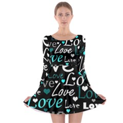 Valentine s Day Pattern - Cyan Long Sleeve Skater Dress by Valentinaart