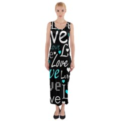 Valentine s Day Pattern - Cyan Fitted Maxi Dress by Valentinaart
