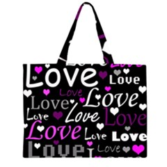 Valentine s Day Pattern   Purple Zipper Large Tote Bag by Valentinaart