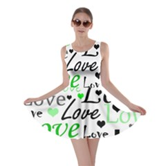 Green  Valentine s Day Pattern Skater Dress by Valentinaart