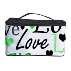 Green  Valentine s Day Pattern Cosmetic Storage Case by Valentinaart