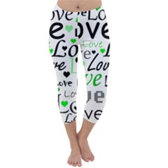 Green  Valentine s Day Pattern Capri Winter Leggings