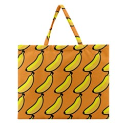 Banana Orange Zipper Large Tote Bag