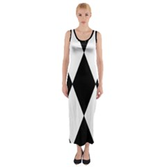 Chevron Black Copy Fitted Maxi Dress by AnjaniArt