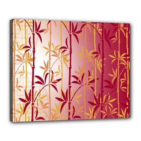 Bamboo Tree New Year Red Canvas 20  X 16