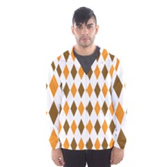 Brown Orange Retro Diamond Copy Hooded Wind Breaker (men) by AnjaniArt