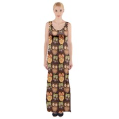 Eye Owl Line Brown Copy Maxi Thigh Split Dress by AnjaniArt