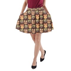 Eye Owl Line Brown Copy A Line Pocket Skirt