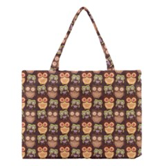 Eye Owl Line Brown Copy Medium Tote Bag