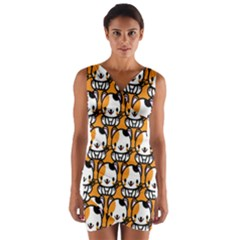 Face Cat Yellow Cute Wrap Front Bodycon Dress