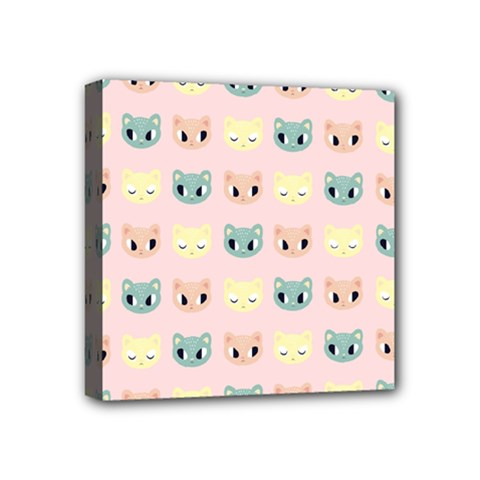 Face Cute Cat Mini Canvas 4  X 4