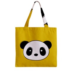 Face Panda Cute Zipper Grocery Tote Bag