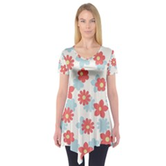 Flower Pink Short Sleeve Tunic