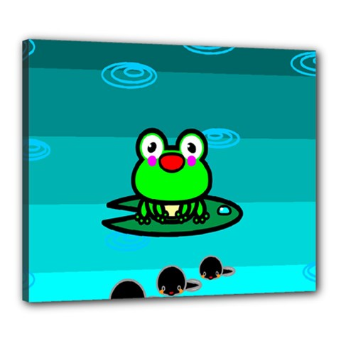 Frog Tadpole Green Canvas 24  X 20  by AnjaniArt