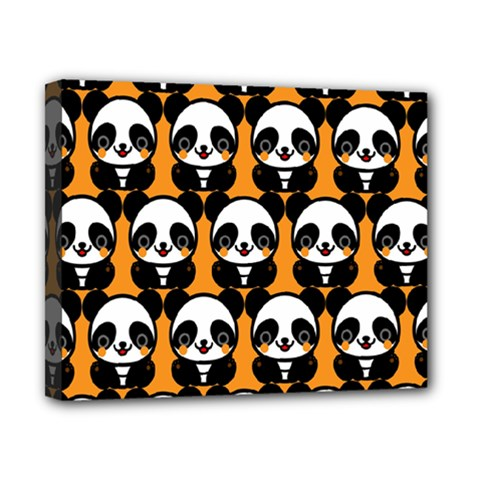 Halloween Night Cute Panda Orange Canvas 10  X 8  by AnjaniArt