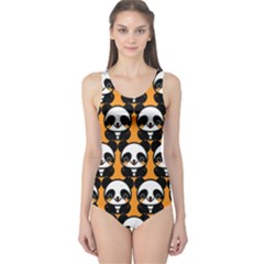 Halloween Night Cute Panda Orange One Piece Swimsuit