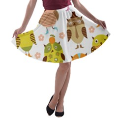 Highres Owls A Line Skater Skirt