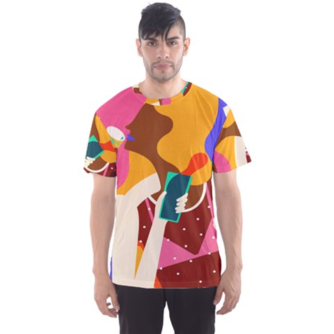 Girl Colorful Copy Men s Sport Mesh Tee by AnjaniArt