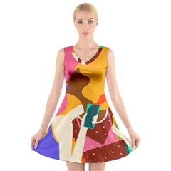 Girl Colorful Copy V Neck Sleeveless Skater Dress by AnjaniArt