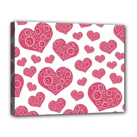 Heart Love Pink Back Canvas 14  X 11  by AnjaniArt