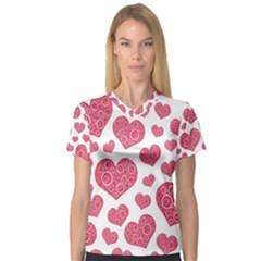 Heart Love Pink Back Women s V Neck Sport Mesh Tee