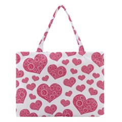 Heart Love Pink Back Medium Tote Bag by AnjaniArt