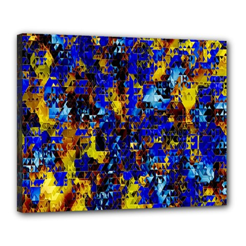 Network Blue Color Abstraction Canvas 20  X 16