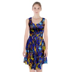 Network Blue Color Abstraction Racerback Midi Dress