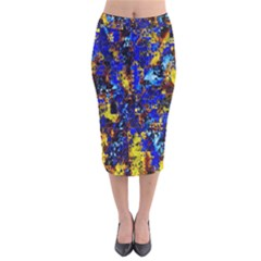 Network Blue Color Abstraction Velvet Midi Pencil Skirt by AnjaniArt