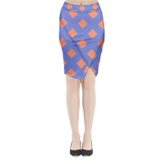 Orange Blue Midi Wrap Pencil Skirt