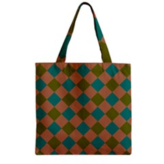 Plaid Box Brown Blue Zipper Grocery Tote Bag