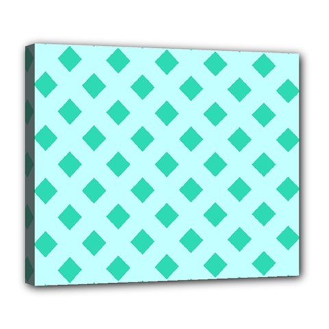 Plaid Blue Box Deluxe Canvas 24  X 20   by AnjaniArt