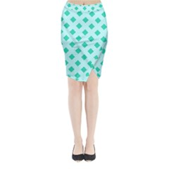 Plaid Blue Box Midi Wrap Pencil Skirt