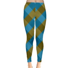 Plaid Line Brown Blue Box Leggings