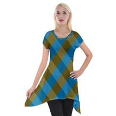 Plaid Line Brown Blue Box Short Sleeve Side Drop Tunic by AnjaniArt