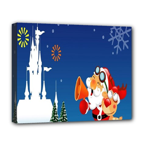 Santa Claus Reindeer Horn Castle Trees Christmas Holiday Deluxe Canvas 20  X 16   by AnjaniArt