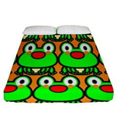 Sitfrog Orange Face Green Frog Copy Fitted Sheet (king Size)