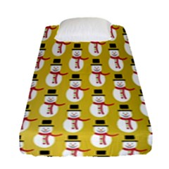 Snowman Green Fitted Sheet (single Size) by AnjaniArt