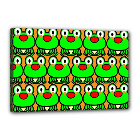 Sitfrog Orange Green Frog Canvas 18  X 12  by AnjaniArt