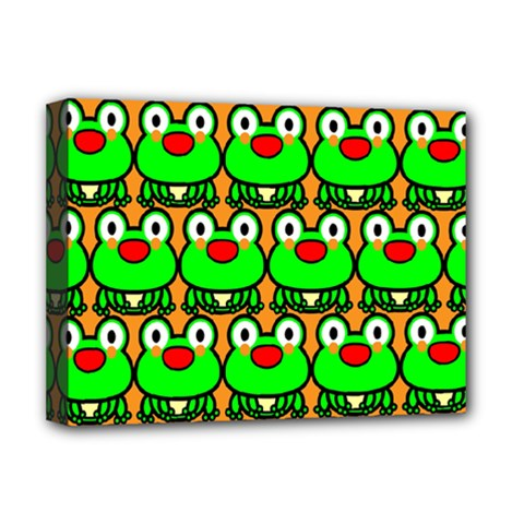 Sitfrog Orange Green Frog Deluxe Canvas 16  X 12   by AnjaniArt