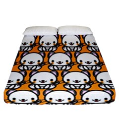 Sitwhite Cat Orange Fitted Sheet (california King Size) by AnjaniArt