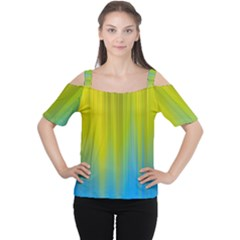 Yellow Blue Green Women s Cutout Shoulder Tee