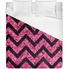 Chevron9 Black Marble & Pink Marble (r) Duvet Cover (california King Size)