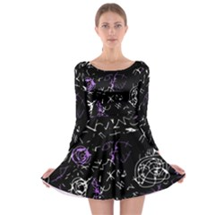 Abstract Mind   Purple Long Sleeve Skater Dress by Valentinaart