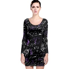 Abstract Mind   Purple Long Sleeve Bodycon Dress by Valentinaart