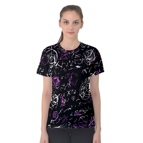 Abstract Mind - Magenta Women s Cotton Tee by Valentinaart