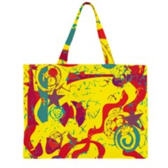 Yellow Confusion Zipper Large Tote Bag by Valentinaart