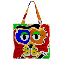 Colorful Cat Zipper Grocery Tote Bag