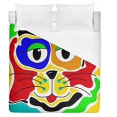 Colorful Cat Duvet Cover (queen Size) by Valentinaart