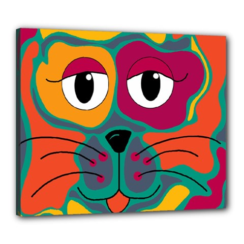 Colorful Cat 2  Canvas 24  X 20  by Valentinaart